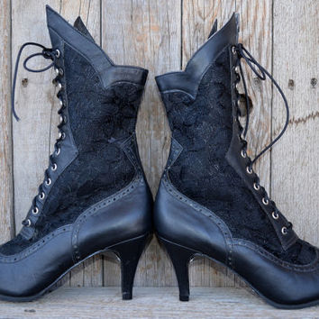Vintage 80's Victorian Revival Sexy Hair Metal Girl Leather & Lace High Heeled Boots, 4 Womens