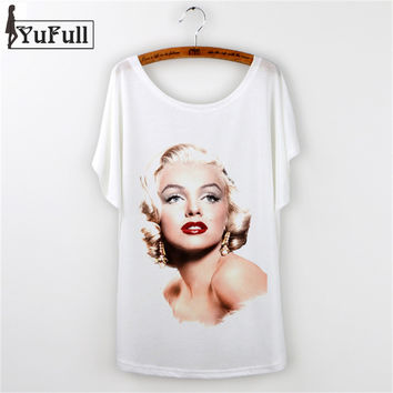 New 2016 T Shirt Women Marilyn Monroe Shirt Character Print Casual White Tshirt Loose Simple Summer Style Tee Shirt Femme