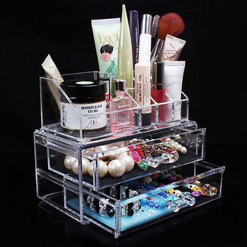 Portable Transparent Makeup Organizer Storage Box Acrylic Make Up Organizer Cosmetic Organizer Makeup Storage Drawers Christmas