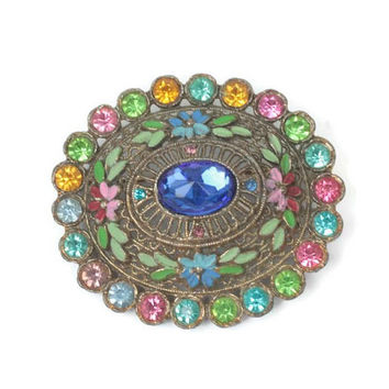 Little Nemo Oval Brooch Pastels Enamel Multi Color Rhinestones 1930s 1940s Vintage