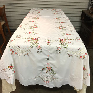 Embroidered Large Oval Tablecloth and Napkins Set Linen Tablecloth Set Large Table Cloth 12 Napkins Vintage Gorgeous Dining Table Cutwork