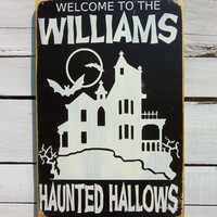 Personalized Halloween Decor -Haunted Hallows Typography Wood Sign