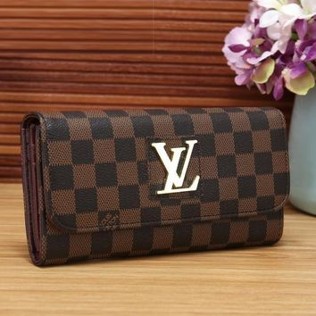 Louis Vuitton Women Fashion Leather Buckle Wallet Purse-1