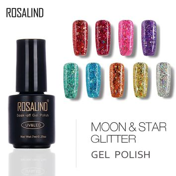 ROSALIND Black Bottle 7ML Star&Moon glitter S01-12 UV LED Soak-Off Gel Nail Polish Nail Art Nail Gel Polish Manicure Gel Varnish