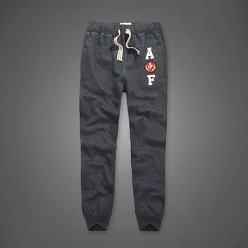 Winter Track Pants Thick Cotton Embroidery Men Joggers Full Length with pockets on side and back