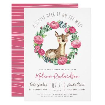 Little Deer | Watercolor Floral Baby Girl Shower Invitation