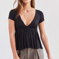 UO Clementine Plunging Babydoll Top | Urban Outfitters