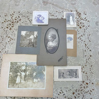 Antique Photograph Collection Early 20th Century Young Women Portraits Set of Seven