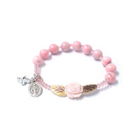Rosary bracelet, Rose mother-of-pearl, Pink Rhodochrocite, Swarovski Crystal, Cubic Cross, God mother