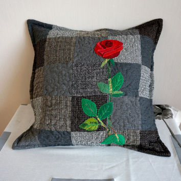 Red Rose Decorative Pillow Cover, Quilted Patchwork Pillow, Handmade Unique Bedroom Decore, Romantic Throw Pillows, Grey and Black Pillow