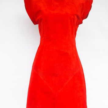 Vintage 1980'S Lipstick Red Suede Open Back Dress. Size 8