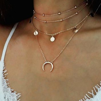Gold Chain Multi layer Moon Choker Necklace For Women Beads Coin Chocker Pendant Necklaces Collares Mujer collier femme
