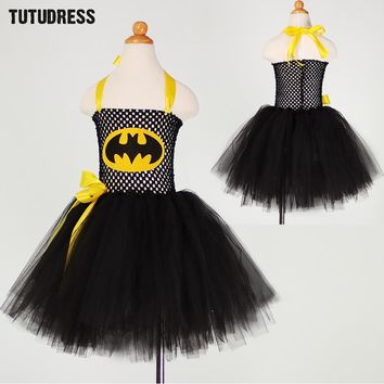 Batman Cosplay Halloween Costume For Kids Tulle Tutu Dress Girl Christmas Party Birthday Performance Dresses Girl Princess Dress