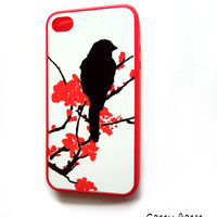 SALE Red Rubber iPhone 4 - 4S Case  Cherry Blossoms and Bird