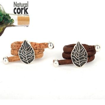 Natural cork Antique sliver Leaves vintage women cork Ring original adjustable  handmade wooden vegan jewelry HR-019