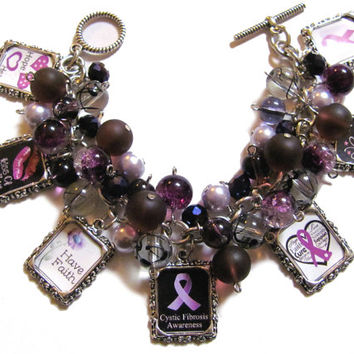 Cystic Fibrosis Awareness Altered Art Fashion Charm Bracelet Purple Plum Handmade