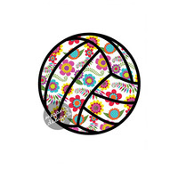 Volleyball Car Decal Colorful Flower Sporty Laptop Bumper Sticker Teal Turquoise Pink Green