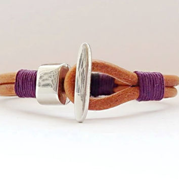 Men's leather bracelet/Natural Leather Bracelet/Men's brown bracelet/Mens Jewelry/Men's Classic Jewelry/Gift for Him/Nautical bracelet.