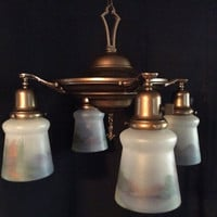 Antique Victorian 4 Light Brass Chandelier Original Reverse Paint Windmill Scene Shades 1920s