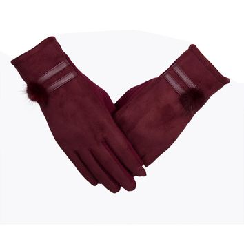 Women Screen Gloves Winter Warm Soft Wrist Gloves Mittens 5 Solid color Comfortable Christmas gloves
