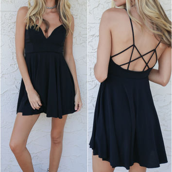 Perfect Day Black Fit And Flare Dress With Strappy Back Detail