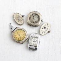 Antique Art Deco Ladies Watch Faces- 1920s 1930s 5 Clocks for Parts, Repair, or Re-purpose Vintage Steampunk Supplies Jewelry