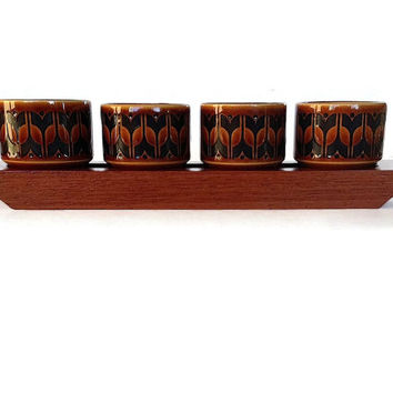 Hornsea Egg Cups, Teak Base, Heirloom, 1960s Mid Century Dining