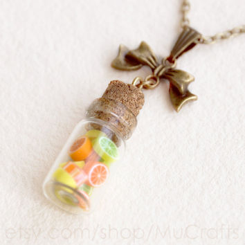 CANDY BOTTLE pendant - CITRUS fruit - miniature glass bottle, corked