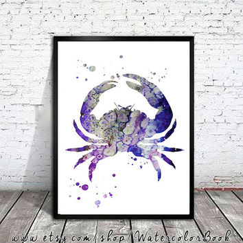 Crab 4 Watercolor Print, Crab art, sea art, watercolor painting, watercolor art, Illustration,  home decor wall art, watercolor animal,
