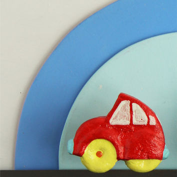 Red car knob in Papier Mache for boys nursery , colorful handmade car knob for kids rooms , red car furniture fixture by gumcrackkids