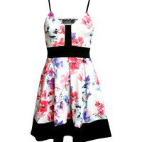 Sabrina Strappy Floral Box Pleat Skater Dress
