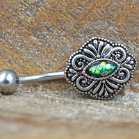 Green Opal Belly Button Ring Vintage Style