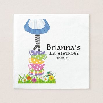 Wonderland Tea Party Birthday Paper Napkin