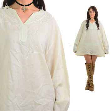 Tunic Dress Sheer Top Vintage 80s Blouse Embroidered Tunic white top Long Hipster 1980s long sleeve Ramie Medium Large