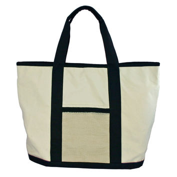 Simple Ecology Organic Cotton Super Duty Canvas Tote and Grocery Bag - Natural/Black