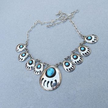 Native American Navajo Sterling Silver Vintage Bear Claw Shadow Box Necklace