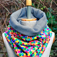 Jersey dotted Scarf,  Cotton Neck Warmer, Multicolor Cowl, Chunky Tube, Colorful Dots Cosy snood