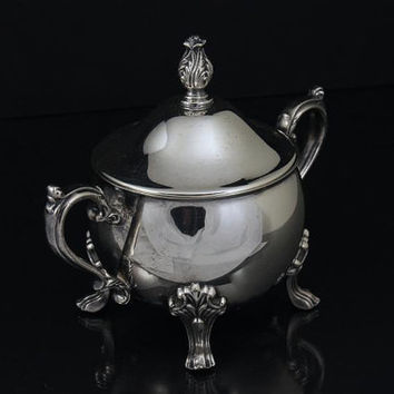 Silver Plate Sugar Bowl Footed with Lid