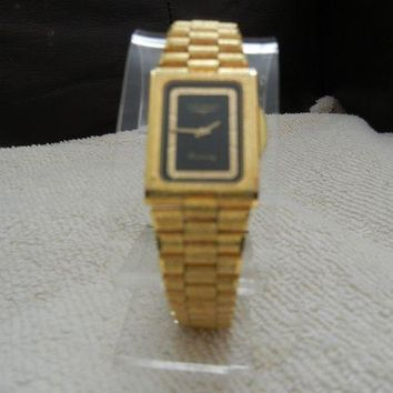 VONW3Q LONGINES WATCH - Gold Tone Bark Finish with hidden clasp