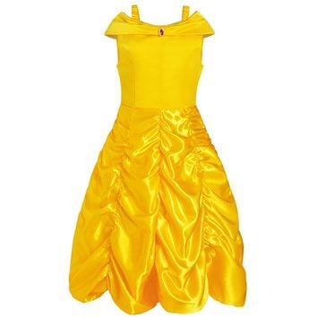 Girls Dresses Princess Belle Halloween Beauty and the Beast Costume Fancy Halloween Costumes Carnival Party Ball Gown Dress