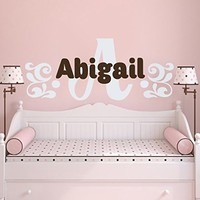 Wall Decals Personalized Name Pattern Vinyl Sticker Decal Custom Name Girls Boys Initial Monogram Children Baby Decor Nursery Kids Room Bedroom Art NS194