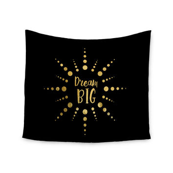 "NL Designs ""Dream Big"" Black Gold Wall Tapestry"