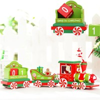 High quality Wooden Christmas Train Car Decoration Child Christmas Gift Small Train Desktop ornaments for kids toy