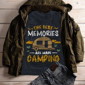 Women's Camping T Shirt Best Memories Made Shirts Camper Graphic Tee