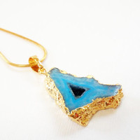 Turquoise  Druzy  Dipped in Gold  Pendant  Chainmaille Necklace,  Blue Drusy with Hollow Triangle  Teardrop Necklace