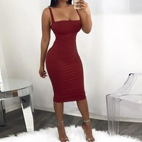 Womens Sleeveless Strap Bandage Bodycon Dress Backless Sexy Party Slim Fit Sheath Dress 2019 Women Summer Dress