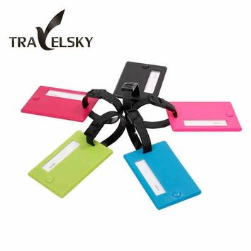 5pcs /set Wholesale Luggage tag with Name Card PVC fashion travel bags tags pull rod box sign random colors free shipping 13101