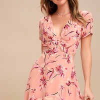 Flor-Ever Blush Pink Floral Print Skater Dress