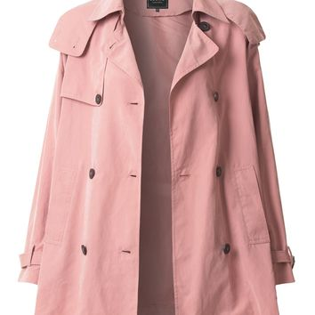 LE3NO Womens Lightweight Oversized Trench Hoodie Jacket with Pockets