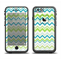 The Green & Blue Leveled Chevron Pattern Apple iPhone 6/6s LifeProof Fre Case Skin Set